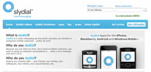 slydial voice messaging system