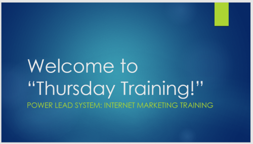 Power Lead System Thursday Training Simple Freedom
