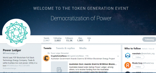 Power Ledger POWR Twitter