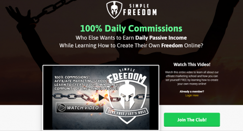 Simple Freedom Club Affiliate Marketing School MGTOW Cash Flow System Home Business Training Internet Marketing Direct Response Marketing