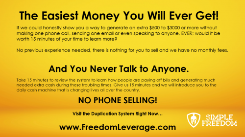 The Easiest Money You Will Ever Make Post Card Simple Freedom Cash Club