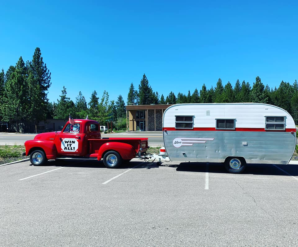 Simple Freedom Red Classic Truck and Camper Trailer